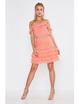 Premium Dobby Mesh Off The Shoulder Frill Mini Dress by Boohoo