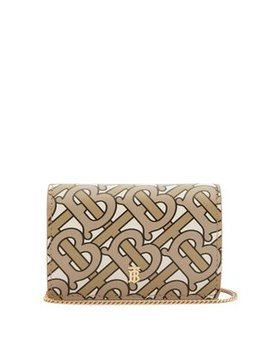 Jessie Monogram Logo Print Leather Chain Wallet by Burberry