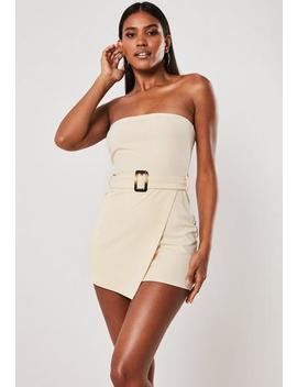 Ivory Bandeau Belted Skort Playsuit by Missguided