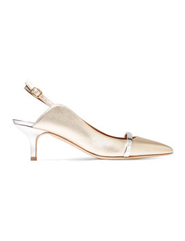 Marion 45 Metallic Leather Slingback Pumps by Malone Souliers
