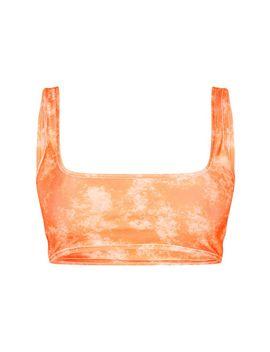 Orange Acid Print Scoop Neck Bikini Top by Prettylittlething
