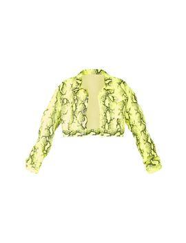 Yellow Neon Snake Denim Crop Jacket by Prettylittlething