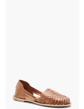 Leather Woven Ballets by Boohoo