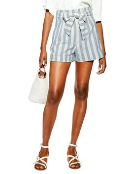 Tie Waist Stripe Linen Shorts by Topshop