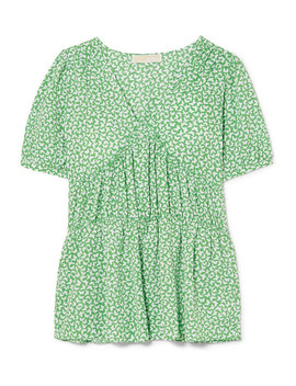 Ruffle Trimmed Printed Crepe Top by Michael Michael Kors