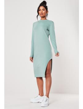 Green Side Split Midi Dress by Missguided