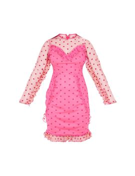 Petite Fuchsia Dobby Mesh Frill Detail Long Sleeve Dress by Prettylittlething