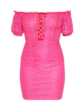 Petite Hot Pink Bardot Lace Detail Bodycon Dress by Prettylittlething