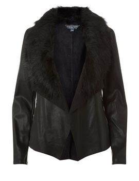 **Tall Black Faux Fur Collar Waterfall Jacket by Dorothy Perkins