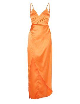 Petite Orange Satin Wrap Detail Maxi Dress by Prettylittlething