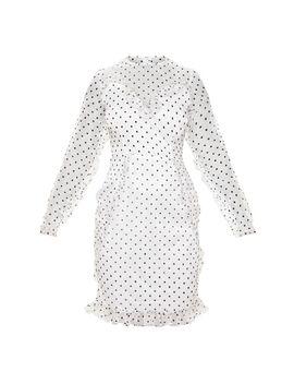 Petite White Dobby Mesh Frill Detail Long Sleeve Dress by Prettylittlething