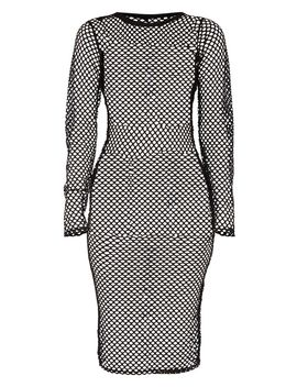 Tall Black Fishnet Mesh Long Sleeve Midi Dress by Prettylittlething