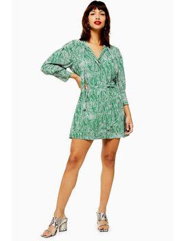Tall Green Animal Pintuck Dress by Topshop