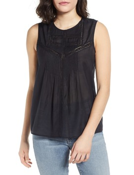 Lace Inset Sleeveless Top by Hinge