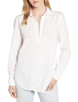 Pop On Crinkled Cotton Blouse by Lou & Grey