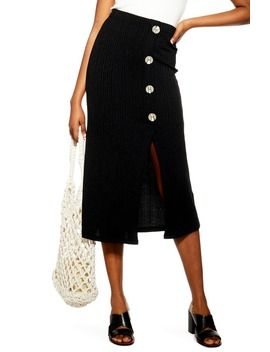 Button Rib Midi Skirt by Topshop