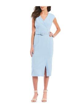 Belted V Neck Cap Sleeve Midi Length Sheath Dress by Adrianna Papell