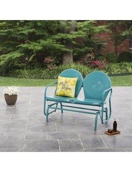 Mainstays Retro Outdoor Glider Bench, Seats 2, Teal by Mainstays Home