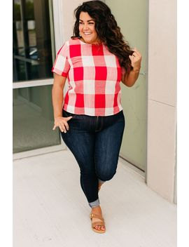 Gingham Button Back Top by Mindy Mae's Market