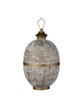 John Lewis & Partners Fusion Oval Iron Large Lantern, White/Brass by John Lewis & Partners