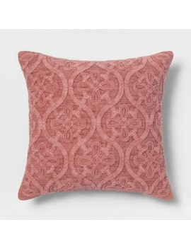 Cord Embroidered Square Throw Pillow Rose   Threshold by Threshold