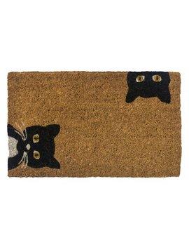 Entryways Peeping Cats Hand Woven Coconut Fiber Doormat by Entryways