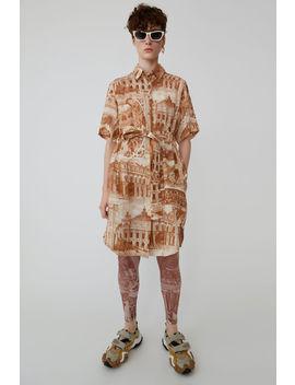printed-shirt-dress-cognac_cream by acne-studios