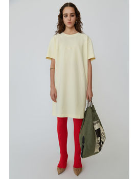 Oversized T Shirt Dress Vanilla Yellow by Acne Studios