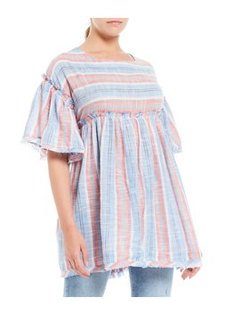 Summer Nights Striped Flutter Sleeve Babydoll Top by Free People