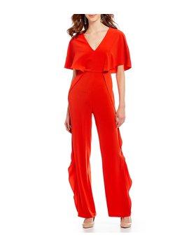 v-neck-ruffle-jumpsuit by h-halston