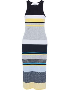 Striped Ribbed Knit Midi Dress by Victoria, Victoria Beckham