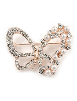 avalaya-exquisite-crystal,-faux-pearl-bead-butterfly-brooch-in-rose-gold-metal---40mm-across by avalaya