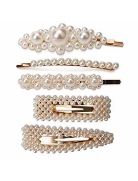 Aiex 2 Pearl Hair Clips And 3 Pearl Hair Pins For Girls Women Ladies White Artificial Pearl Hairpins Gold... by Aiex