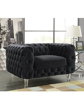Iconic Home Fcc2650 An Modern Contemporary Tufted Velvet Down Mix Cushions Acrylic Leg Club Chair, Black by Iconic Home