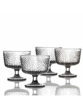 """Elle Decor 229805 4 Pb Bistro Croc Pedestal Bowls, 4.3"""" X 4.3"""", Clear by Elle Decor"""
