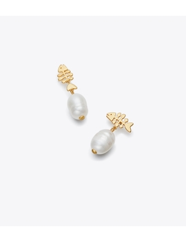 Fish & Pearl Mismatched Drop Earring by Tory Burch