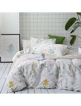 Wake In Cloud   Botanical Comforter Set, 100 Percents Cotton Fabric With Soft Microfiber Fill Bedding, Yellow Flowers And Green Leaves Floral Garden Pattern Printed On White (3pcs, Queen Size) by Wake In Cloud