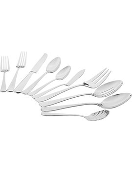 Amazon Basics 65 Piece Stainless Steel Flatware Set With Square Edge, Service For 12 by Amazon Basics