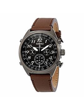 Seiko Men's Prospex Radio Sync Solar Brown Leather Strap Watch by Seiko