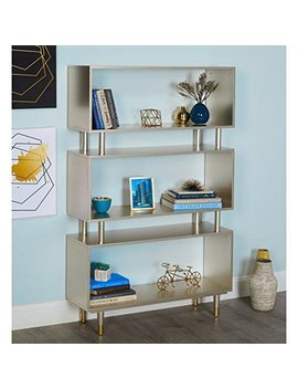 Mod Haus Living Mid Century Modern Bookshelf With 3 Shelves And Solid Wood Legs   Includes Pen (Champagne Gold) by Mod Haus Living