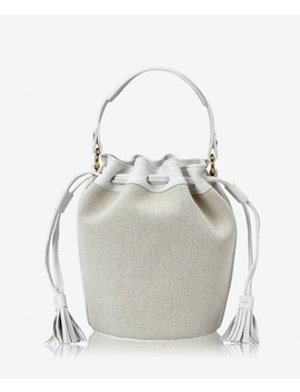 Genevieve Bucket Bag by Italian Canvas With White Calfskin Leather