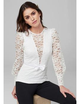Bow Detail Lace Top by Bebe