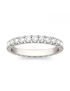 Forever One 1.00 Ctw Round Moissanite Shared Prong Set Eternity Band In 14 K White Gold by Charles And Colvard