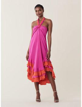 Sage Silk Crepe De Chine Halter Dress by Dvf