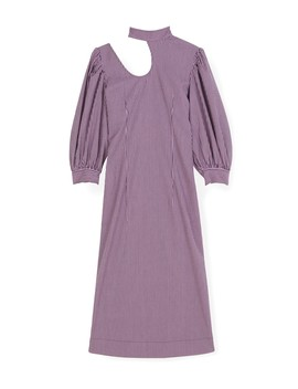 Stretchable Seersucker Dress In Moonlight Mauve by Ganni