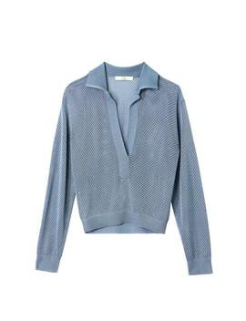 Crispy Viscose Polo Mesh Pullover by Shop Bazaar
