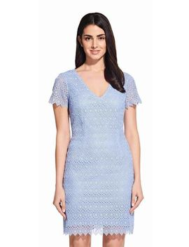 Short Sleeve Lace Dress With Scalloped Hem by Adrianna Papell