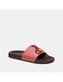 Udele Sport Slide With Floral Bow Print by Coach