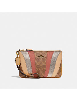 Small Wristlet In Signature Canvas With Wave Patchwork by Coach