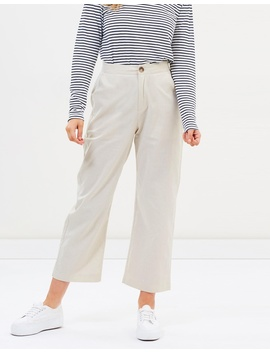 Linen Blend Cropped Pants by Atmos&Here
